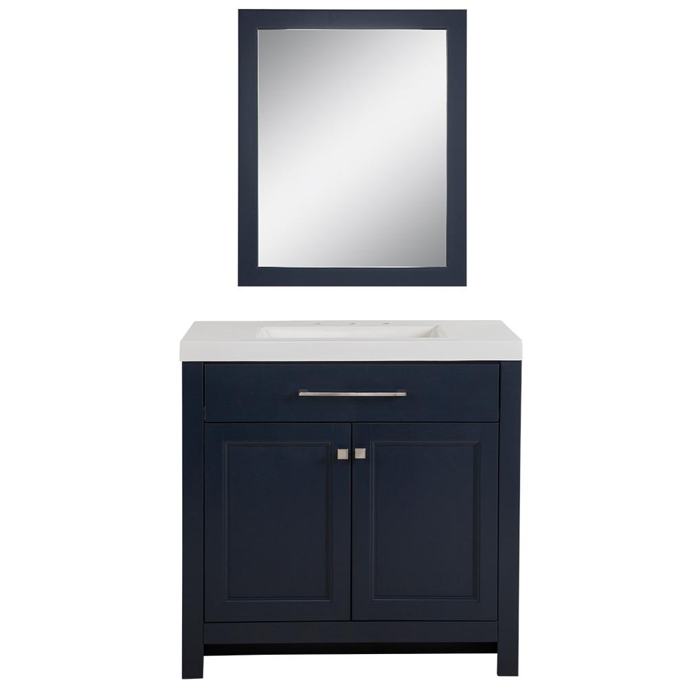 Home Decorators Collection Camdyn 36 50 In W X 18 75 In D Bath Vanity In Blue With Cultured Marble Vanity Top In White W White Sink With Mirror