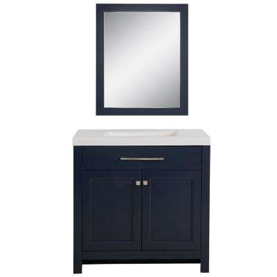 Camdyn 36.50 in. W x 18.75 in. D Bath Vanity in Blue with Cultured Marble Vanity Top in White w/ White Sink with Mirror