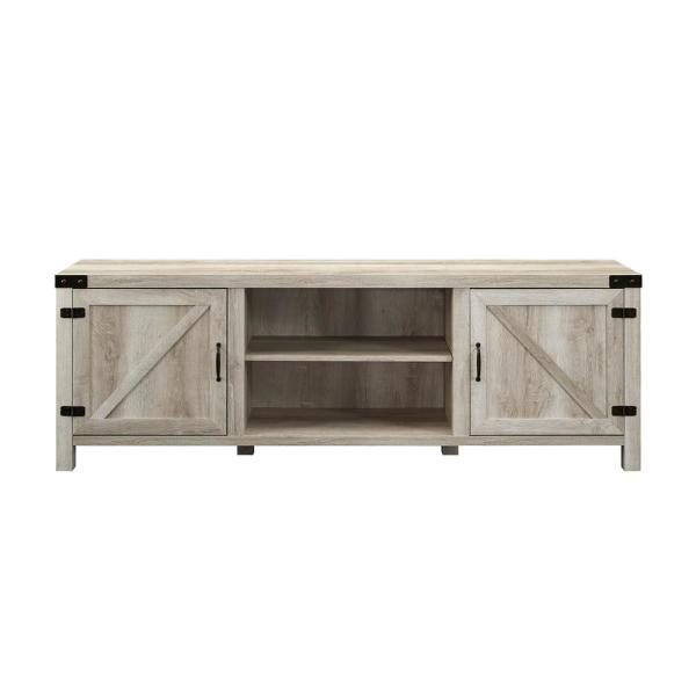 Walker Edison Furniture Company 70 In White Oak Barn Door Tv
