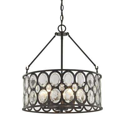 Serai 5-Light Oil Rubbed Bronze Chandelier with Metal and Clear Glass Shade