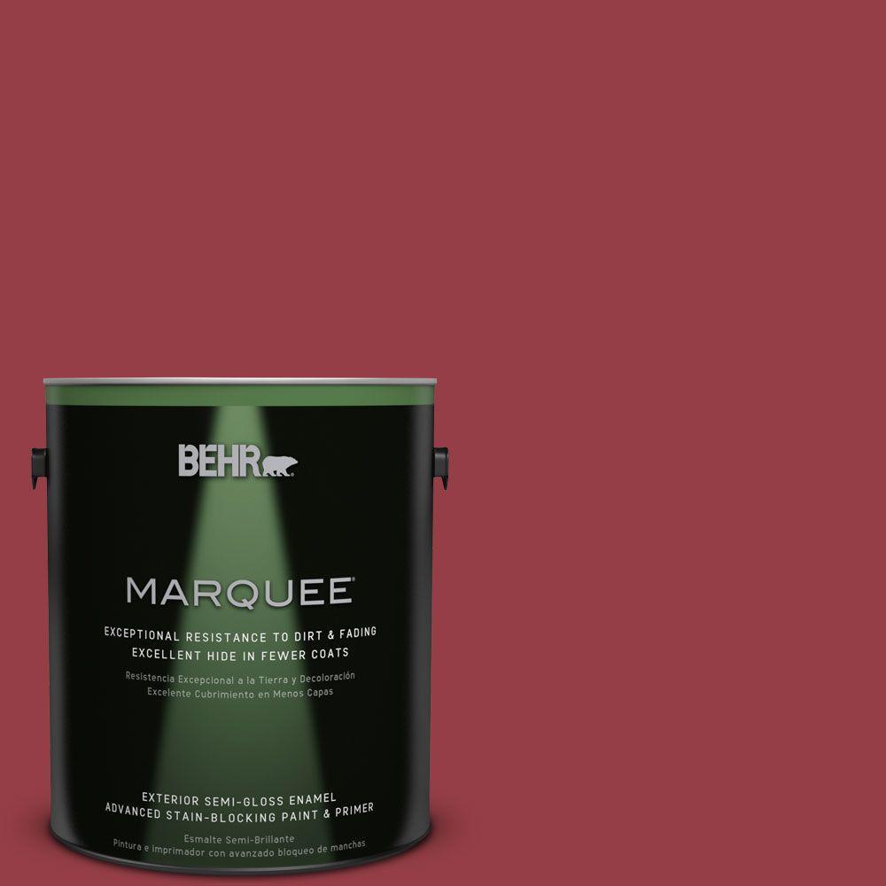 BEHR MARQUEE 1-gal. #QE-06 Reddest Red Semi-Gloss Enamel Exterior Paint