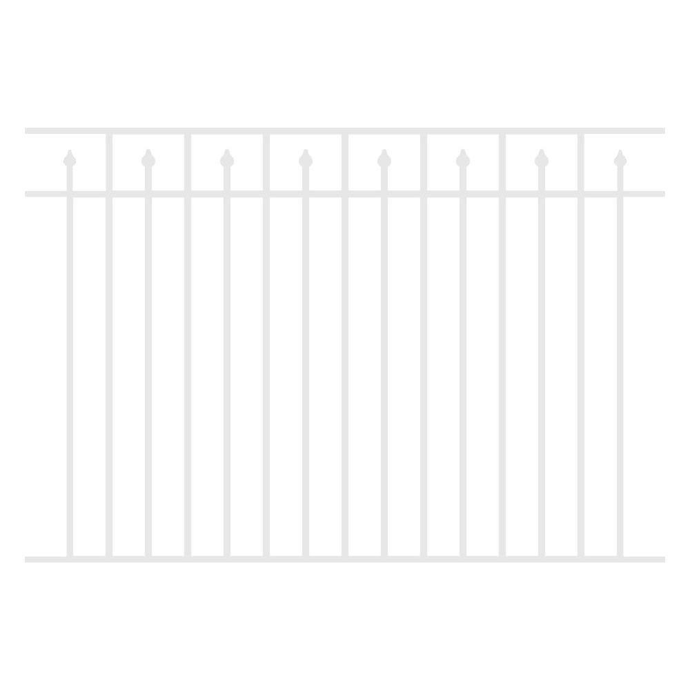 Allure Aluminum 4.5 ft. H x 6 ft. W Aluminum White Unassembled Provincial 3-Rail Fence Section (4-Pack)