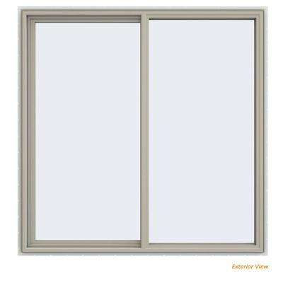 59.5 in. x 59.5 in. V-4500 Series Desert Sand Painted Vinyl Left-Handed Sliding Window with Fiberglass Mesh Screen
