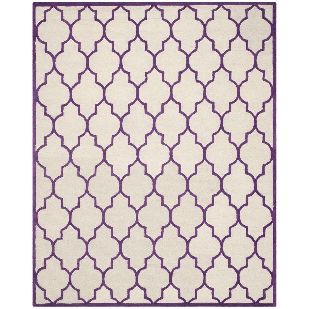 Cambridge Ivory/Purple 9 ft. x 12 ft. Area Rug
