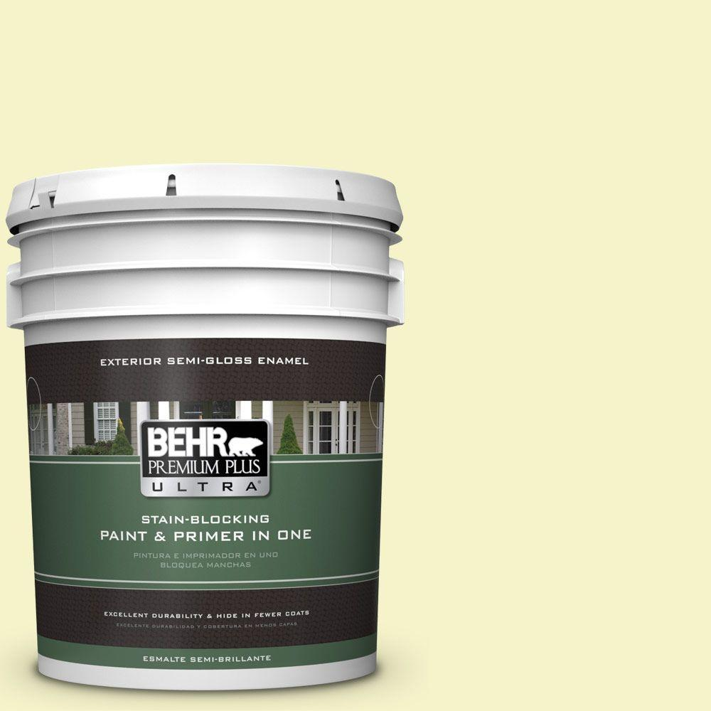 BEHR Premium Plus Ultra 5-gal. #400A-1 Candlelight Yellow Semi-Gloss Enamel Exterior Paint