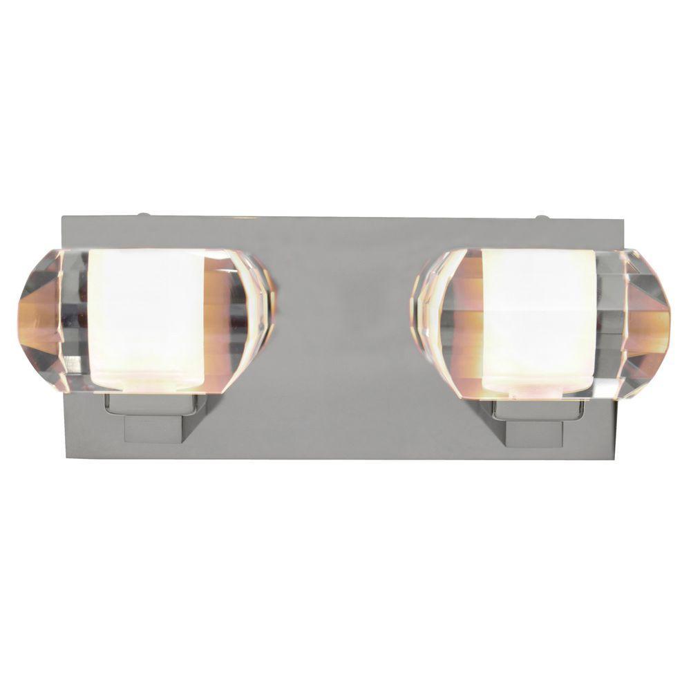 Decor Living Nine Collection 2-Light Chrome Wall Vanity Light