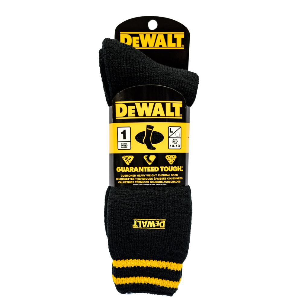 Dewalt Men 10 13 Black Brushed Heat Holder Sock Dxsc102