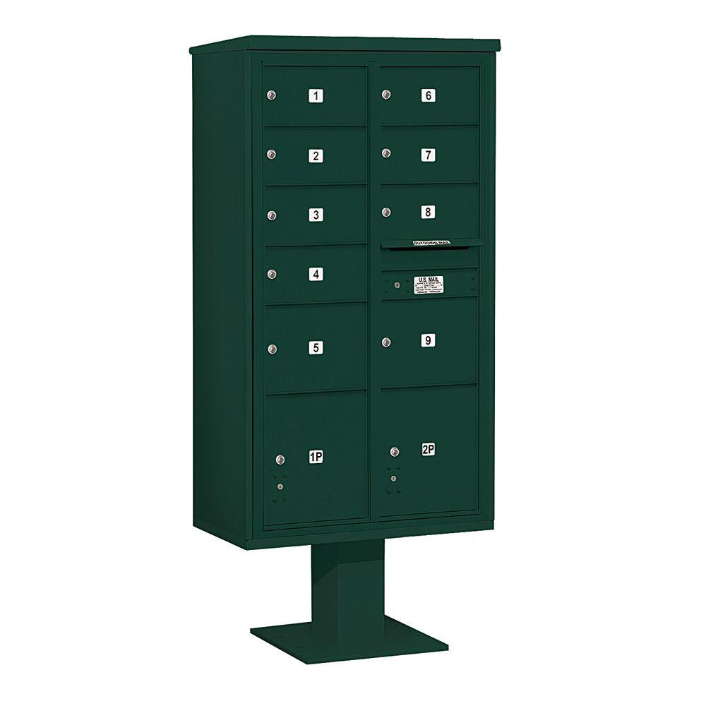 3400 Series Green Mount 4C Pedestal Mailbox with 7 MB2/2 MB3
