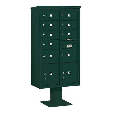 3400 Series Green Mount 4C Pedestal Mailbox with 7 MB2/2 MB3 Doors/2 PL