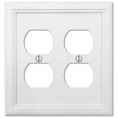 Elly 2 Gang Duplex Composite Wall Plate - White