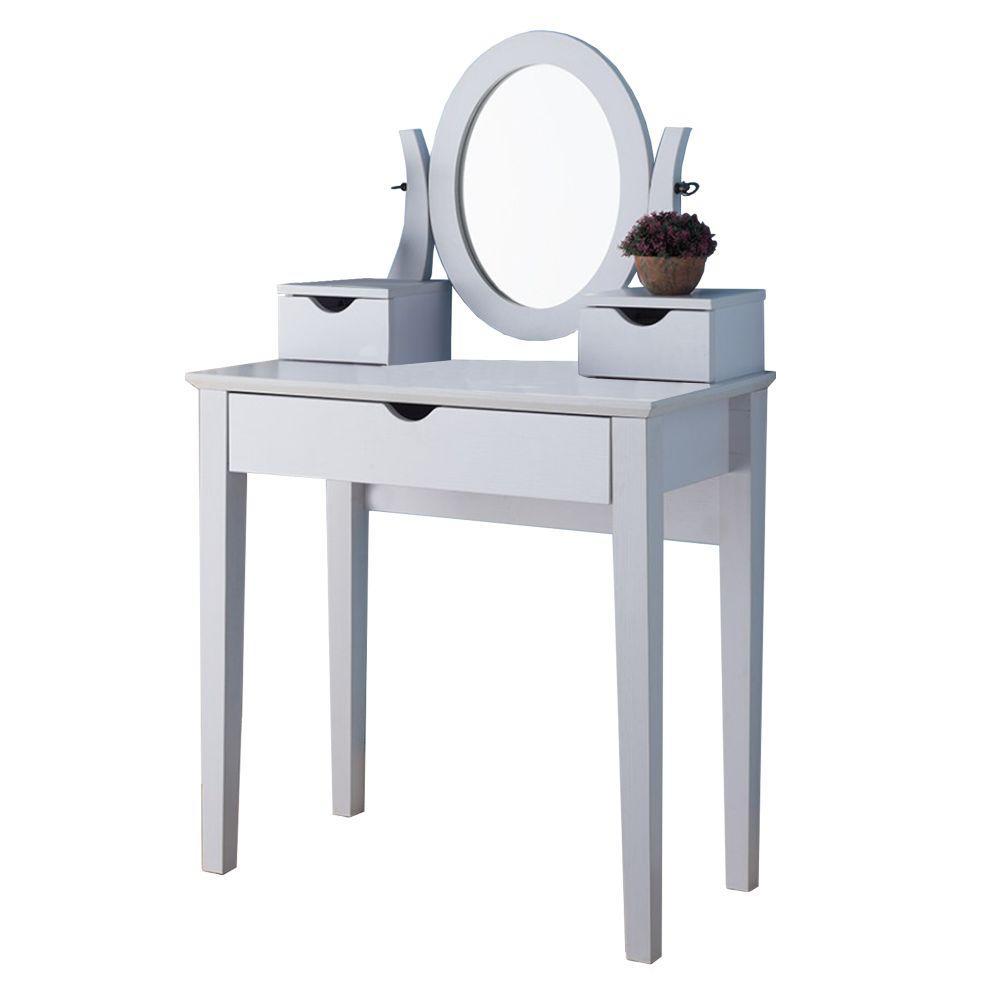 online retailer 46b53 cbaca Benjara Spacious 3-Drawers White Wooden Dressing Table with ...