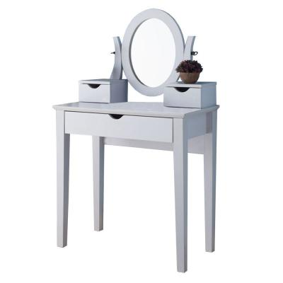 Spacious 3-Drawers White Wooden Dressing Table with Adjustable Mirror