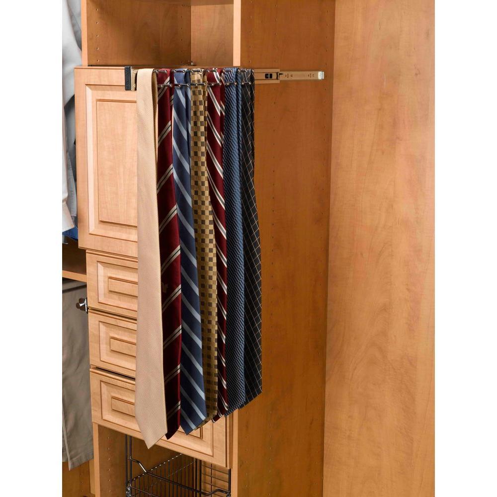 2 in. H x 2 in. W x 14 in. D Chrome Pull-Out Side Mount 9-Hook Tie Rack
