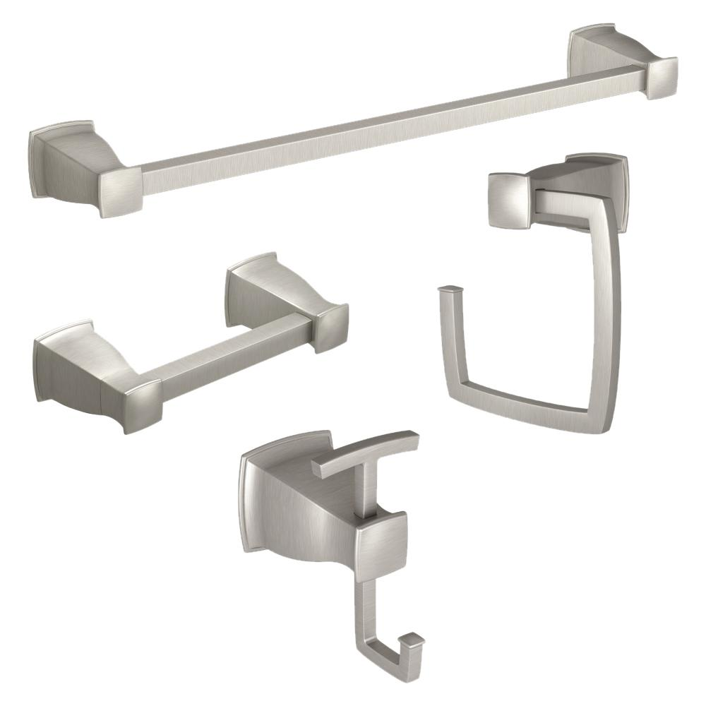 Toilet Holder With Mounting Posts Bundle Of 3 Moen  Satin Nickel Towel Bar