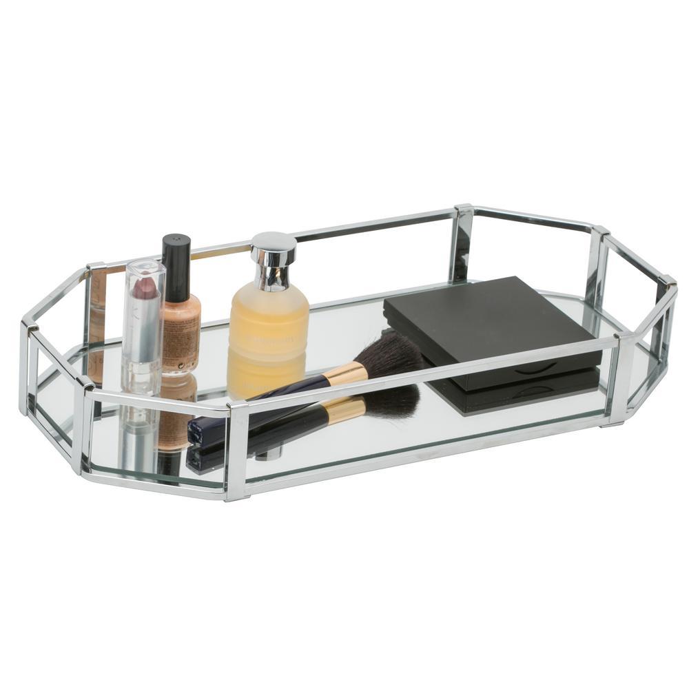 Home Details Rectangular Design Mirror Vanity Tray 26420 Chr The Home Depot