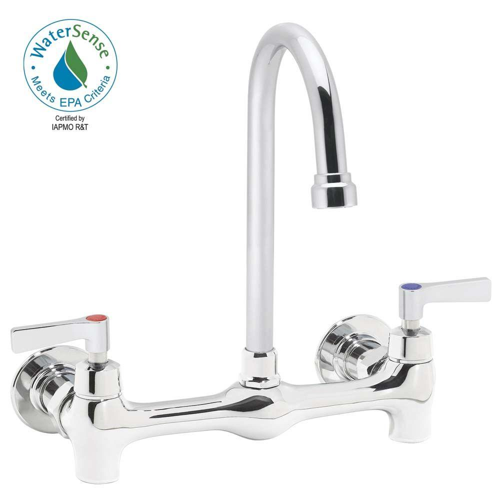 Speakman Wall Mount 2-Handle High Arc Bathroom Faucet in Polished Chrome with Lever Handles-DISCONTINUED