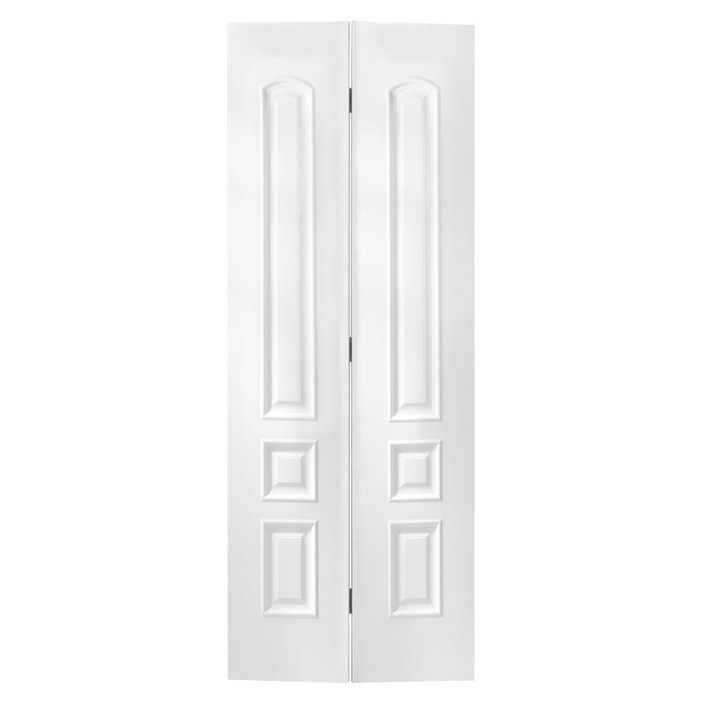 Masonite 24 in. x 80 in. x 1-3/8 in. Palazzo Treviso White 3-Panel Round Top Smooth Hollow Core Interior Closet Bi-fold Door