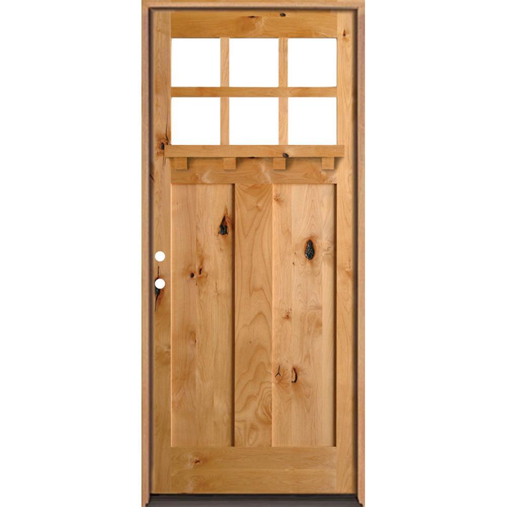 Krosswood Doors 36 in. x 96 in. Craftsman 3 Panel 6Lite Clear Low-  sc 1 st  The Home Depot & Krosswood Doors 36 in. x 96 in. Craftsman 3 Panel 6Lite Clear Low-E ...