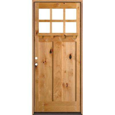 42 in. x 96 in. Craftsman 3 Panel 6-Lite Clear Low-E w/Dentil Shelf Left-Hand Unfinished Wood Alder Prehung Front Door