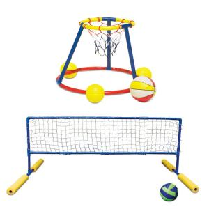 Poolmaster Floating Water Basketball and Volleyball Pool Party Game Combo Pack by Poolmaster