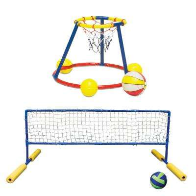 Floating Water Basketball and Volleyball Pool Party Game Combo Pack