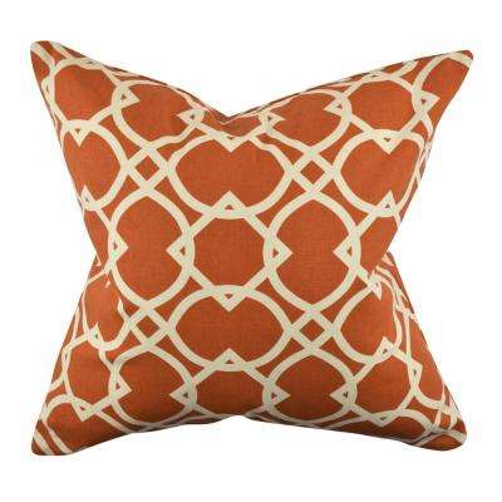 Modern Orange Circle Link Woven Throw Pillow