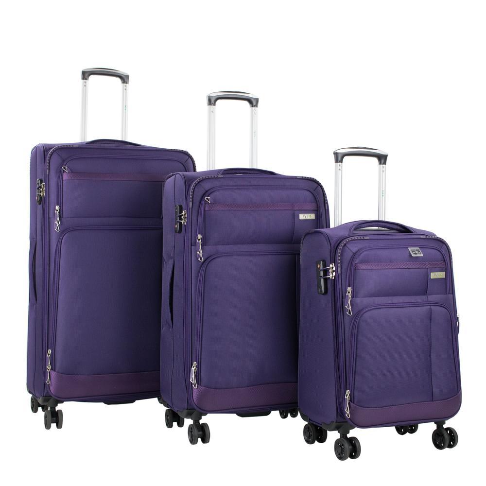 Hamilton 3-Piece Purple Spinner Luggage Set with Laptop Tablet Sleeve and TSA Locks
