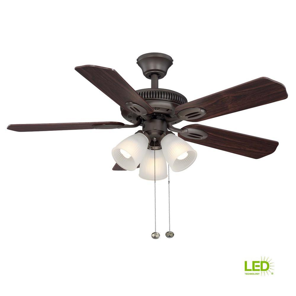 hampton bay glendale 42 in led indoor oil rubbed bronze ceiling fan with light kit am212 orb. Black Bedroom Furniture Sets. Home Design Ideas