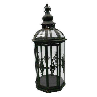 10.5 in. x 27.5 in. Octagonal Black Candle Lantern with Classic Iron Frame