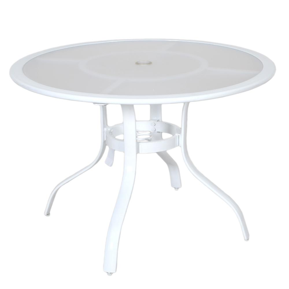 Commercial Aluminum 40 in. Round Outdoor Acrylic Top Dining Table in
