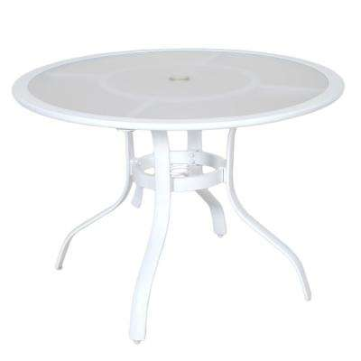 Super 40 In Commercial Aluminum Round Outdoor Acrylic Top Dining Table In White Ibusinesslaw Wood Chair Design Ideas Ibusinesslaworg