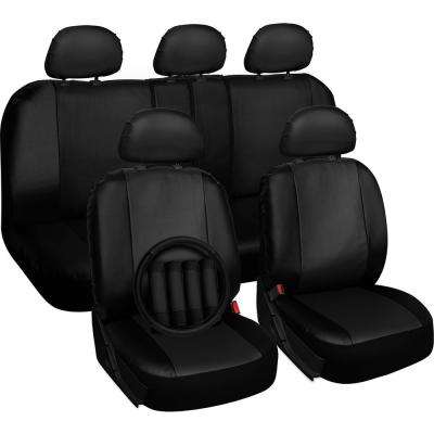 Polyurethane Seat Covers 21.5 in. L x 21 in. W x 31 in. H Seat Cover Set Black (17-Piece)