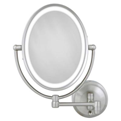 15 in. L x10 in. W LED Oval Wall Mount Bi-View 10X/1X Magnification Beauty Makeup Mirror in Satin Nickel