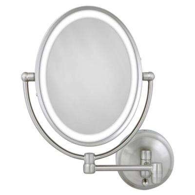 15 in. L x10 in. W LED Lighted Oval Wall Makeup Mirror in Satin Nickel