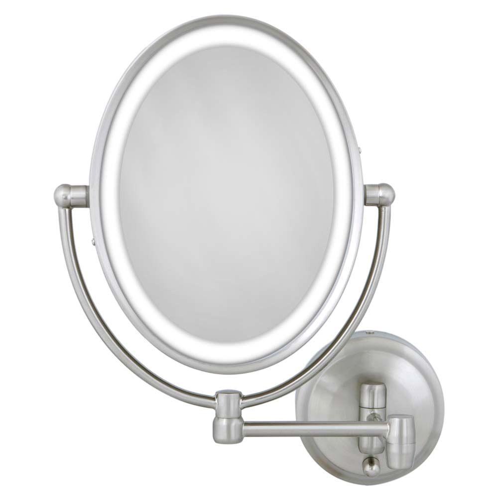 15 in. L x10 in. W LED Oval Wall Mount Bi-View 10X/1X Magnification Beauty Makeup Mirror in Satin Nickel