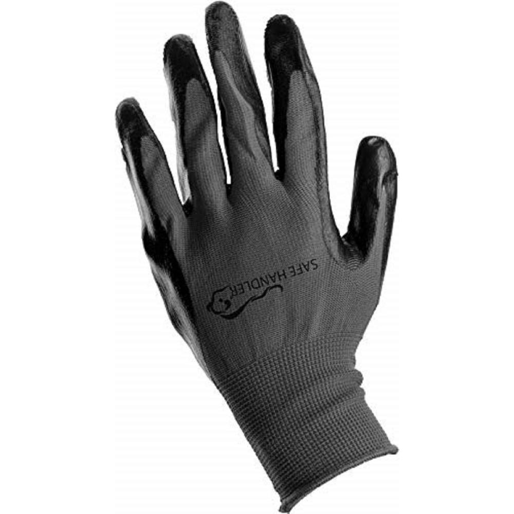 Safe Handler Nitrile Black/Grey OSFM Firm Grip Work Gloves (Pack of 12-Pairs)
