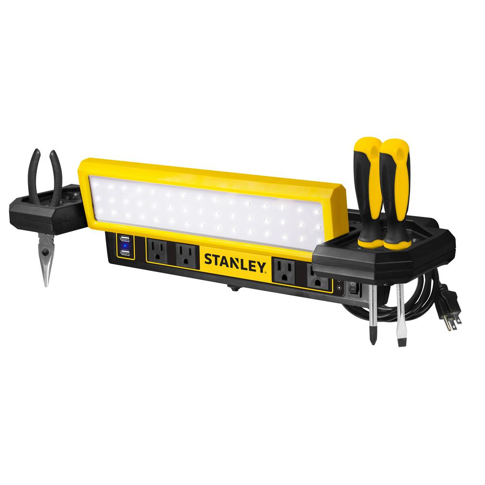Wondrous Stanley 1000 Lumens Work Bench Shop Light With Ac And Usb Power Strip Gamerscity Chair Design For Home Gamerscityorg