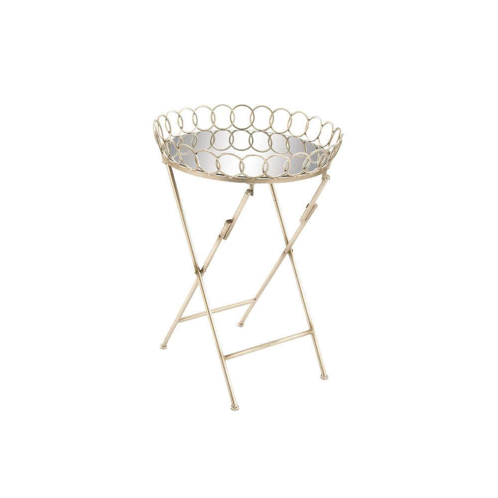 Metallic Silver Round Side Table with Circle Designed Rim