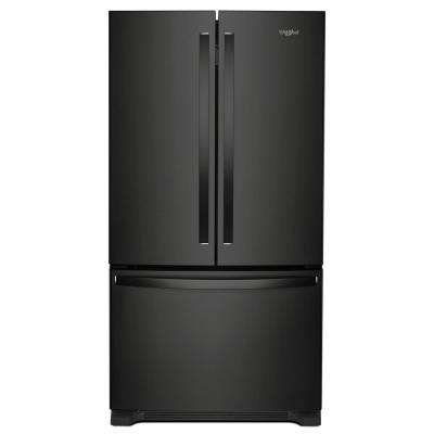 36 in. W 25 cu. ft. French Door Refrigerator in Black with Internal Water Dispenser