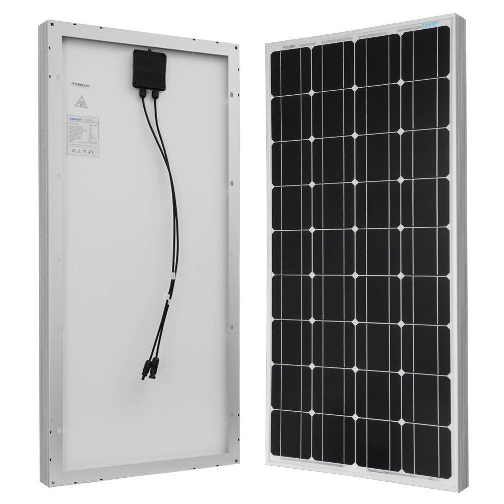 100-Watt 12-Volt Monocrystalline Solar Panel for RV, Boat, Back-