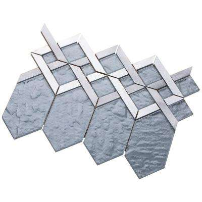 Hexa/02 Slate Gray Glass Coupled with Silver and Gray Aluminum 3 in. x 10 in. Tile Sample