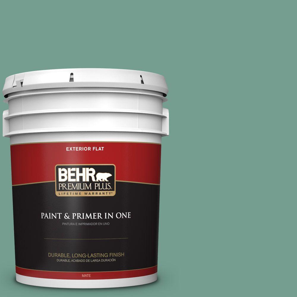 BEHR Premium Plus 5-gal. #M430-5 Regal View Flat Exterior Paint, Greens