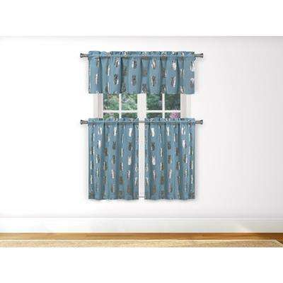 Alohi Kitchen Valance in Blue-Silver - 15 in. W x 58 in. L (3-Piece)