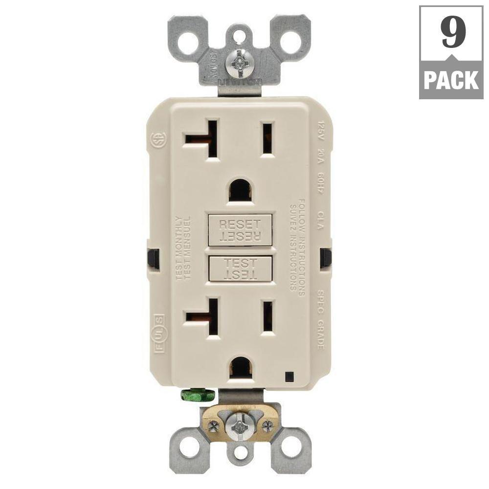 20 Amp Self-Test SmartlockPro Slim Duplex GFCI Outlet, Light Almond (9-Pack)