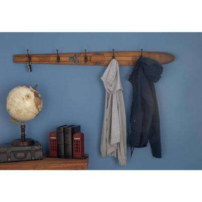 55 in. x 5 in. Rustic Brown Wooden Water Ski Cloth Hook