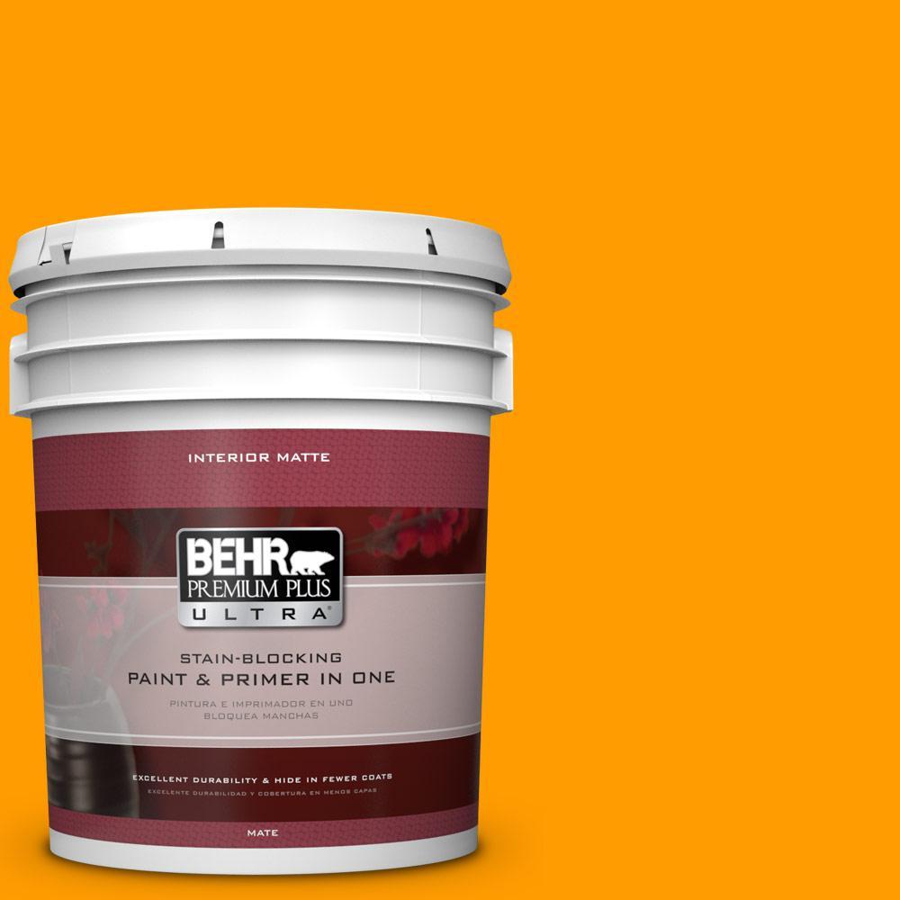 BEHR Premium Plus Ultra 5 gal. #300B-7 Goldfish Flat/Matte Interior Paint