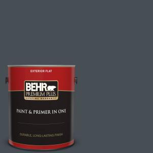 Behr Premium Plus 1 Gal T15 2 Seared Gray Flat Exterior Paint And Primer In One 430001 The Home Depot