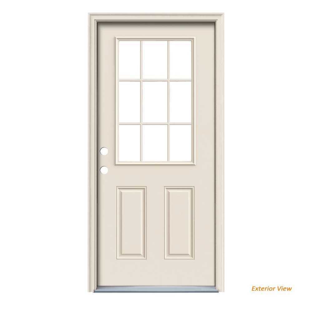 36 in. x 80 in. 9 Lite Primed Steel Prehung Right-Hand Inswing Front Door w/Brickmould