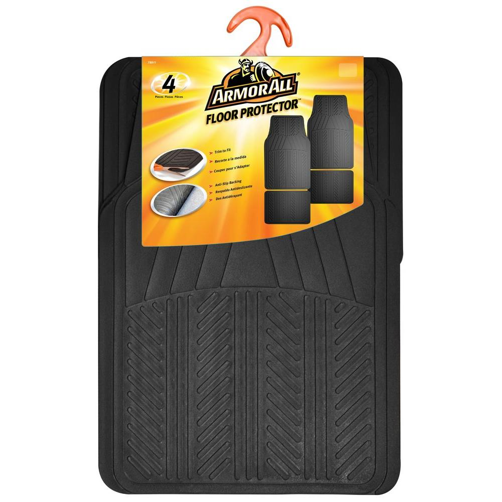Black Rubber Floor Mat (4-Piece)