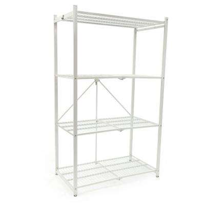 4-Tier Foldable Steel Shelf in White